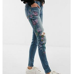 Express Floral Screen Print Stretch Jeans 12R NWT